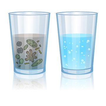 Illustration of a contaminated glass of water next to a clean glass of water