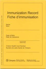 Front cover of a yellow immunization record card.