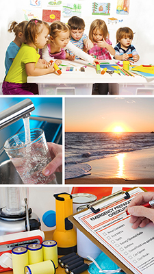 Four images. Image 1: A group of young children playing at a craft table. Image 2: a cup filling with tab water. Image 3: A sunset at the beach. Image 4: Emergency supplies and an emergency preparation checklist